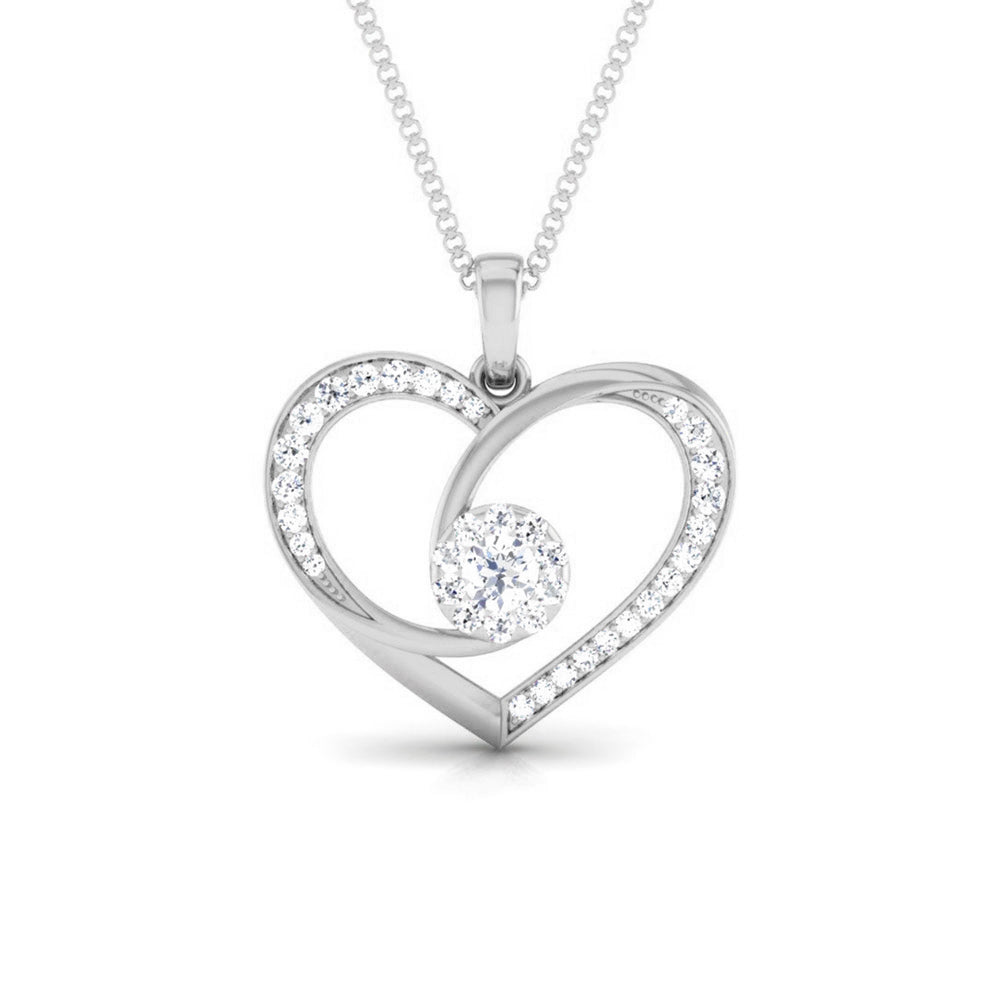 Front View of Platinum Infinity Heart Pendant with Diamonds JL PT P 8220