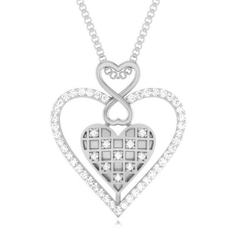 Front View of Platinum Infinity Heart Pendant with Diamonds JL PT P 8231