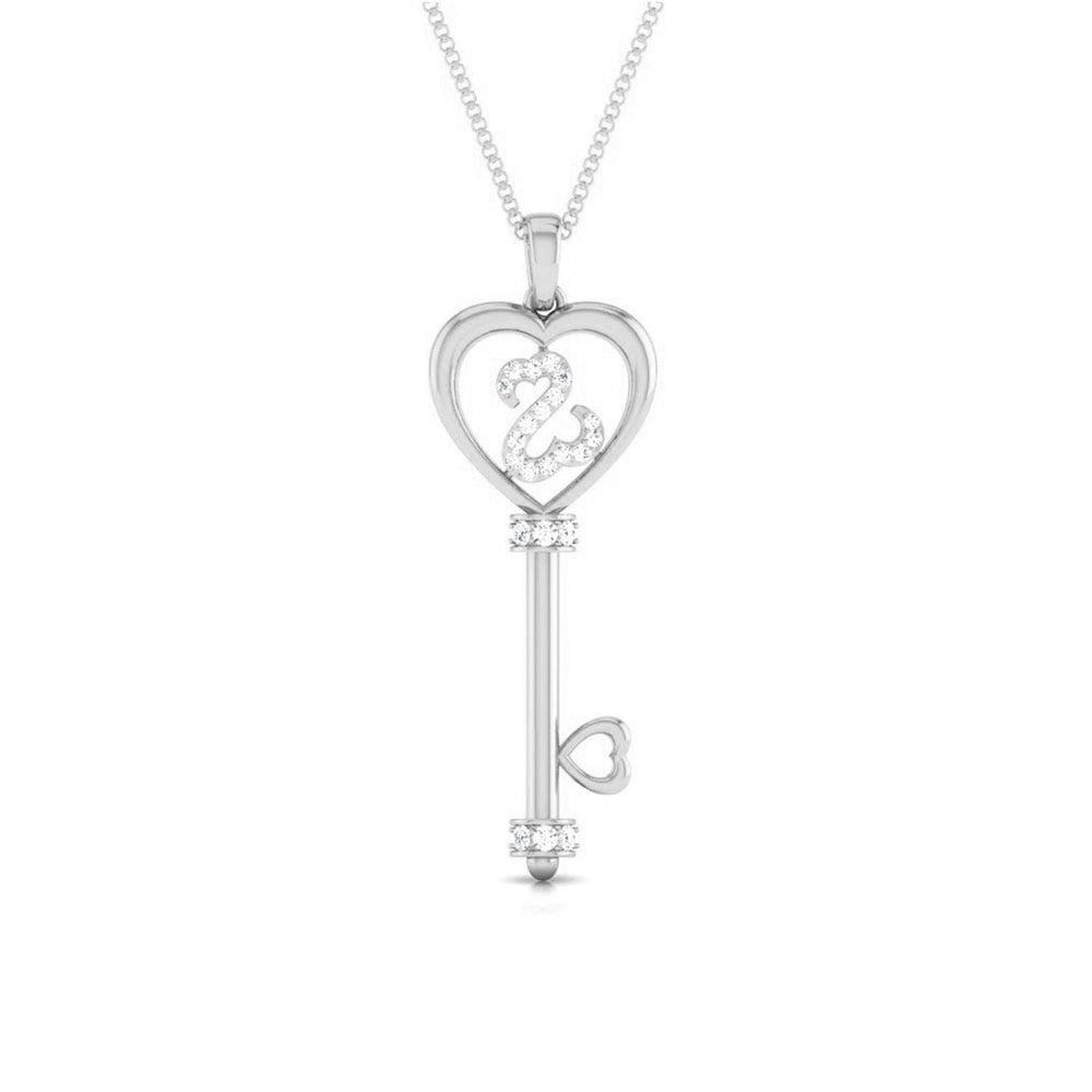 Front View of Platinum Key to Your Heart  Pendant with Diamonds JL PT P 8198
