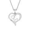 Front View of Platinum Tripple Heart Pendant with Diamonds JL PT P 8067