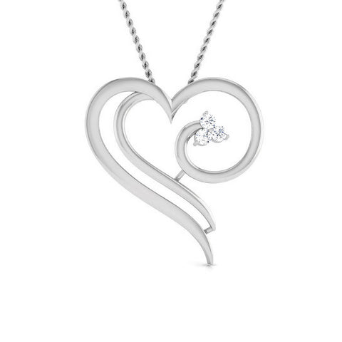 Front View of Platinum Heart Pendant with Diamonds JL PT P 8077