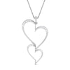 Front View of Platinum Double Heart Pendant with Diamonds JL PT P 8078
