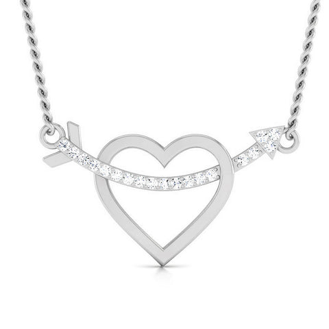 Front View of Platinum Heart Pendant with Diamonds JL PT P 8079
