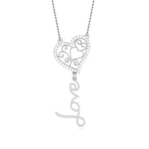 Front View of Platinum Heart Love Pendant with Diamonds JL PT P 8085