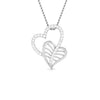 Front View of Platinum Double Heart Pendant with Diamonds JL PT P 8092
