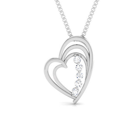 Front View of Platinum Love Pendant with Diamonds JL PT P 8097
