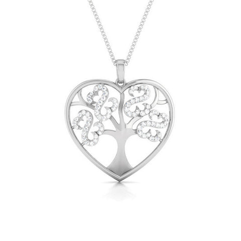 Front View of Platinum Love Pendant with Diamonds JL PT P 8099