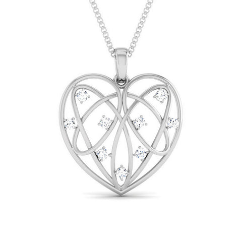 Front View of Platinum Love Pendant with Diamonds JL PT P 8103