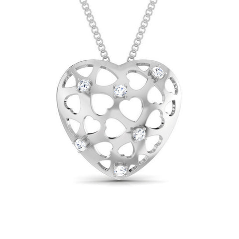 Front View of Platinum Love Pendant with Diamonds JL PT P 8184