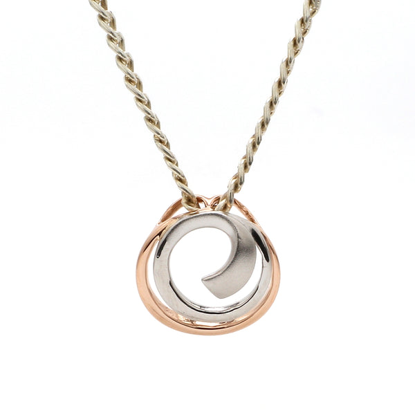 Front View of Platinum Rose Gold Fusion Pendant with Circles JL PT P 176
