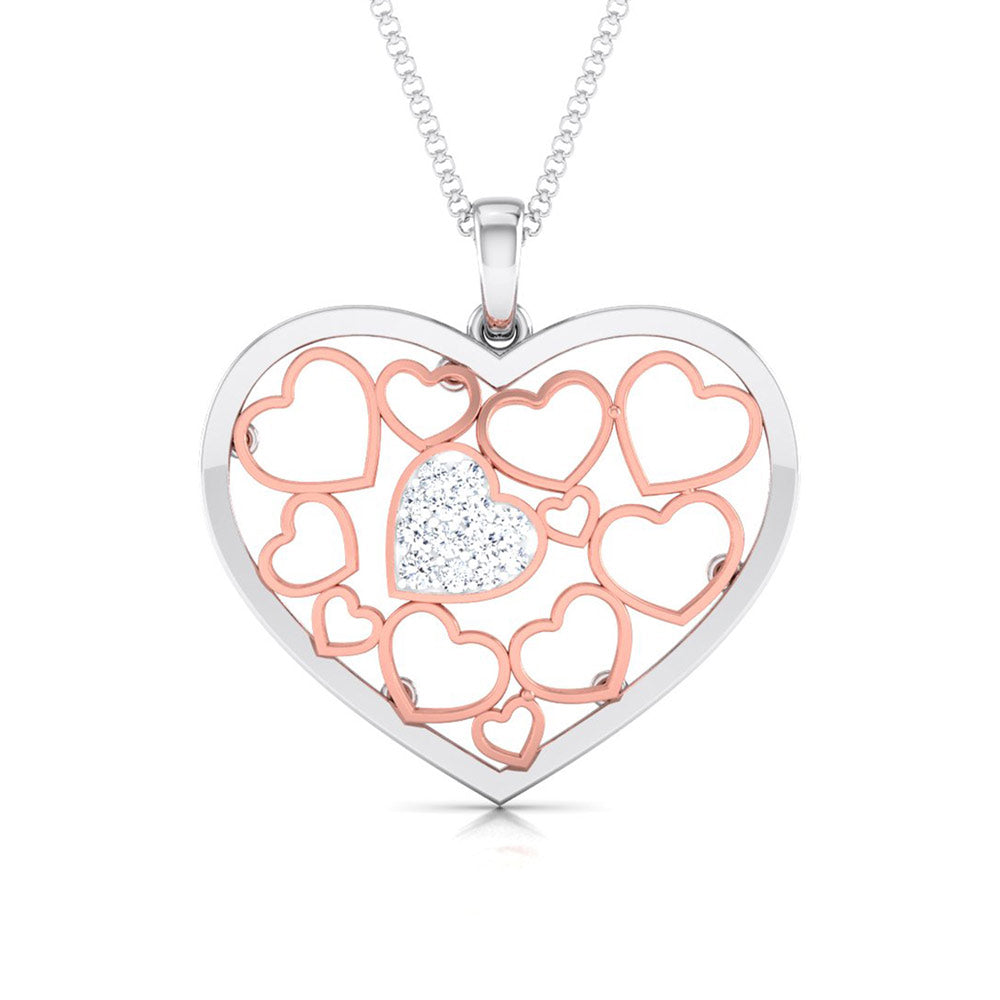 Front View of Platinum of Rose Heart Pendant with Diamonds JL PT P 8105