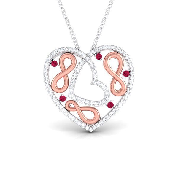 Front View of Platinum of Rose Heart Pendant with Diamonds JL PT P 8197