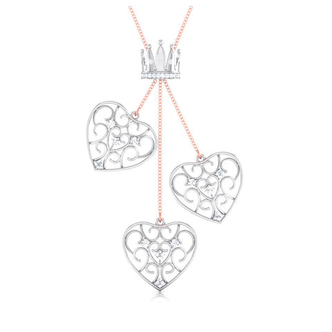 Front View of Platinum of Rose Tripple Heart Pendant with Diamonds JL PT P 8216
