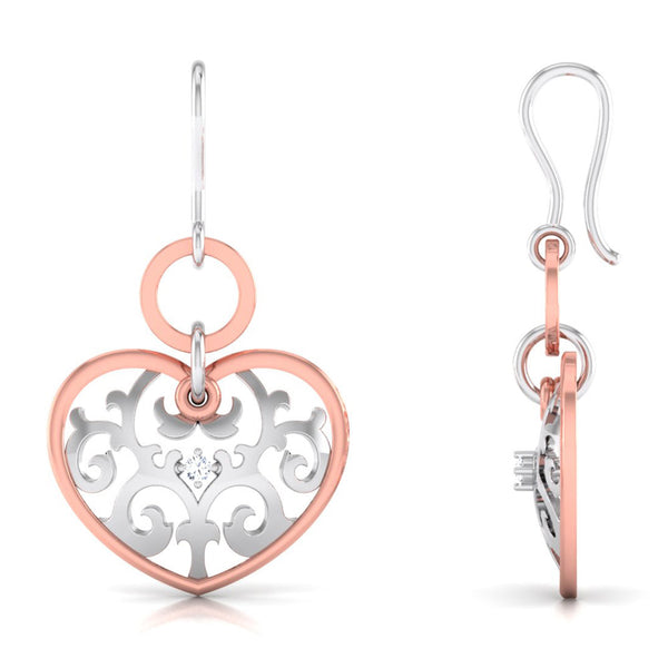 Front View of Side Platinum of Rose  Heart  Earring with Diamonds JL PT E 8230