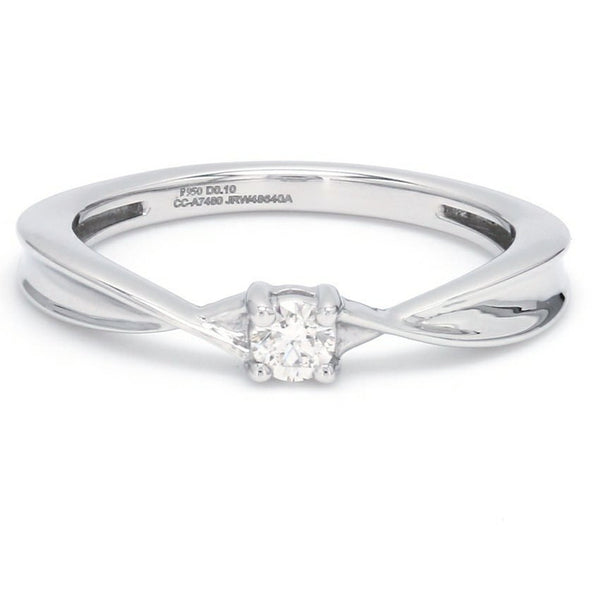 Front View of Single Diamond Platinum Ring with a Curve for Women JL PT 579
