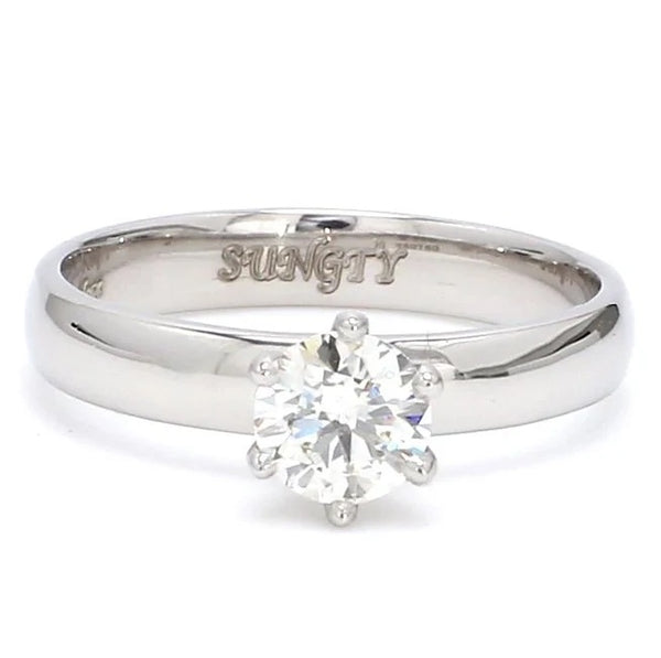 Front View of View of Classic 6 Prong Solitaire Ring made in Platinum SKU 0011