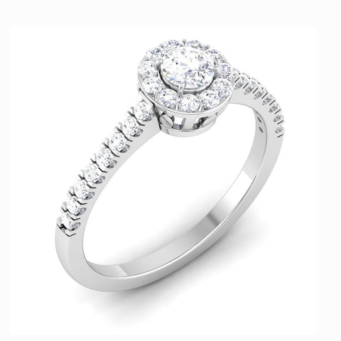 Perspective View of Full Halo Diamond Solitaire Engagement Ring for Women in Platinum JL PT 481