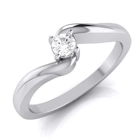 10-Pointer Platinum Diamond Ring for Women with a Curve JL PT G-117