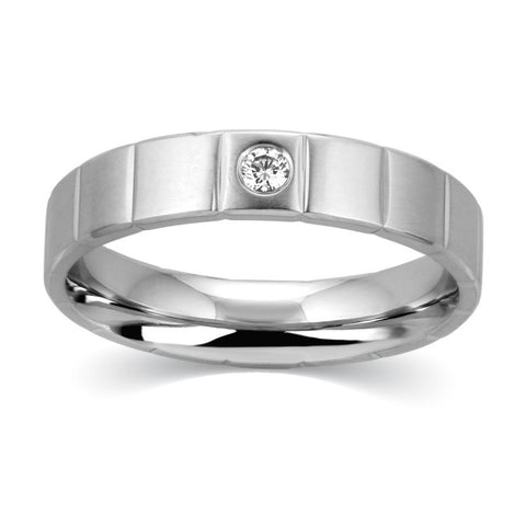 Grooved Platinum Ring for Men with 0.05 cts. Single Diamond JL PT 520