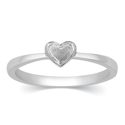 Tiny Heart Shape Plain Platinum Ring for Women JL PT 333
