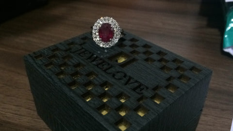 Customised 18K gold & ruby ring with diamonds