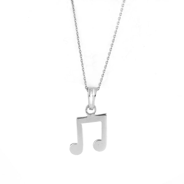 IMG_9025 Plain Pendant Musical Note Pendant JL PT E 157 Actual Photo in Chain. How the pendant looks when it is hanging in a chain
