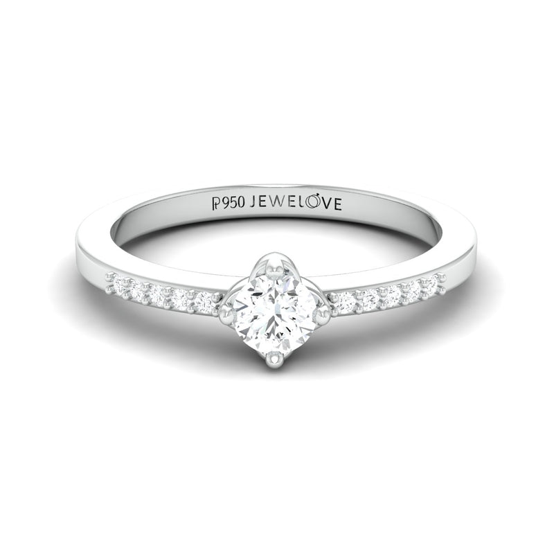 Ready to Ship - Ring size 11, 0.19 cts. Solitaire Platinum Ring with Diamond Accents for Women JL PT 574