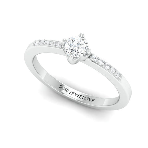 20 Pointer Solitaire Platinum Ring with Diamond Accents for Women JL PT 574