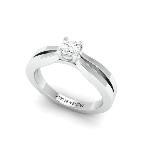Ready to Ship - Ring Size 11, Split Shank 28-Pointer Platinum Solitaire Engagement Ring for Women JL PT 670