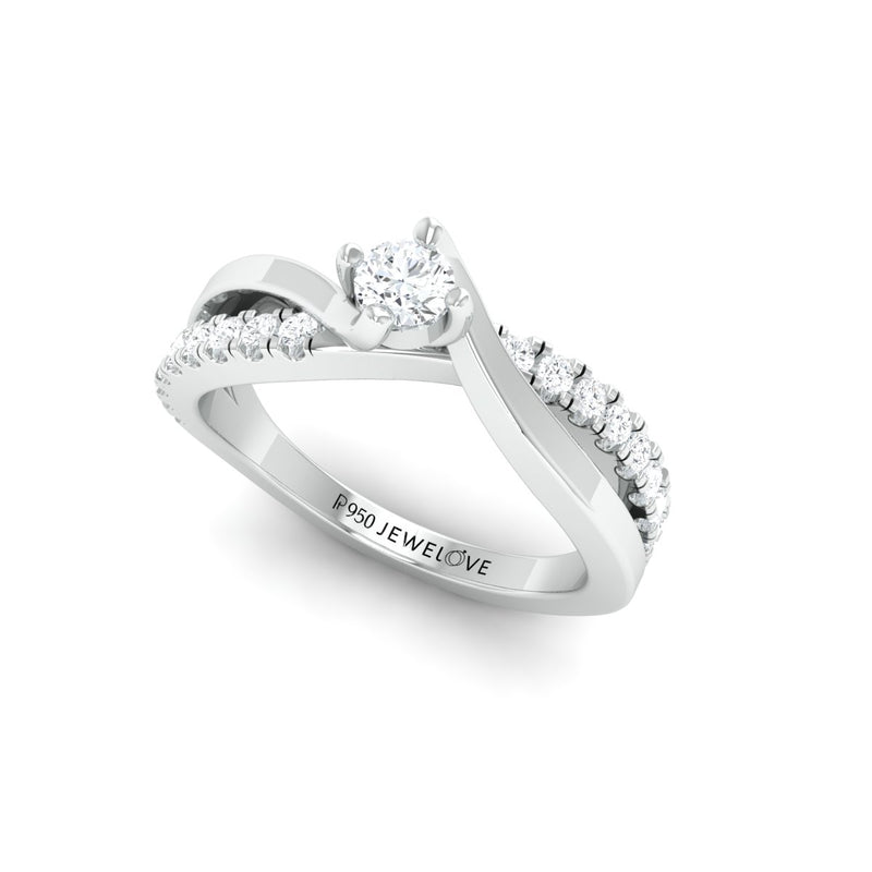 15 Pointer Platinum Solitaire Ring with a Twist JL PT 675