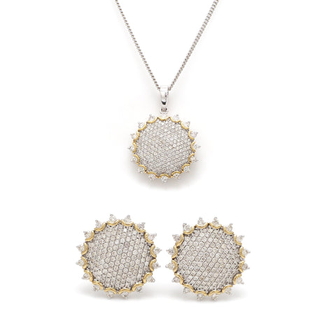 Rising Sun - Designer Gold with Diamond Pendant Set JL AU E 189