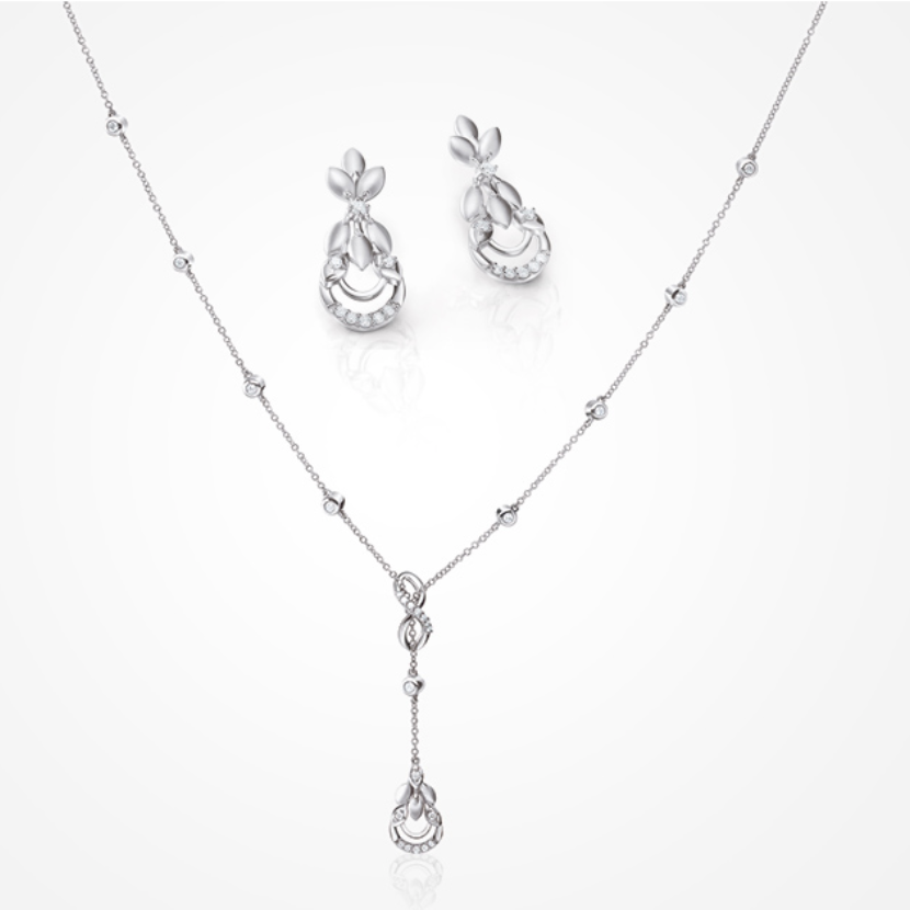 Infinity Platinum Evara Diamond Necklace & Earrings with Diamond Studded Chain for Women JL PTN 174
