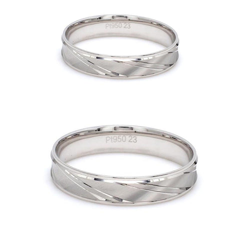 Japanese Designer Platinum Love Bands with Slanting Grooves Couple Ring JL PT 607
