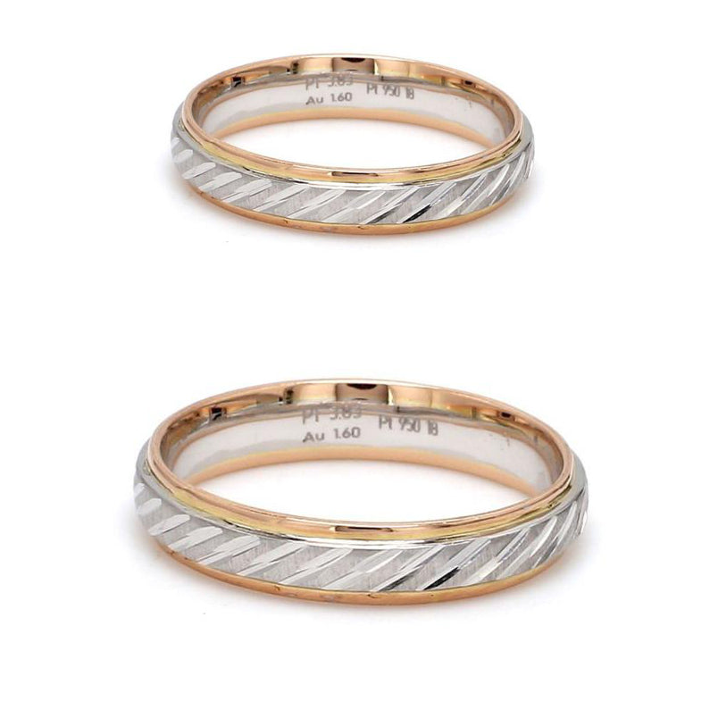 Japanese Platinum & Rose Gold Couple Rings with Slanting Cuts JL PT 603