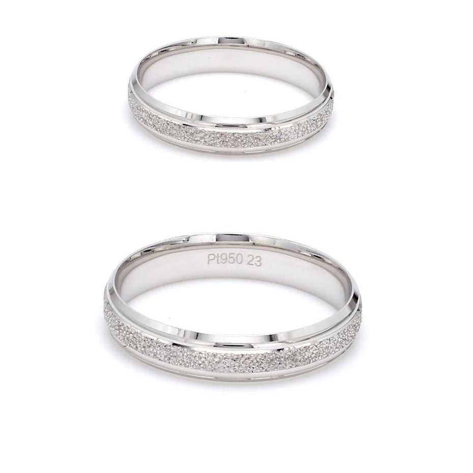 Japanese Rough Texture Platinum Love Bands Couple Ring JL PT 609