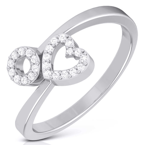 Heart and Circle with Diamond in Platinum for Women JL PT LR 146