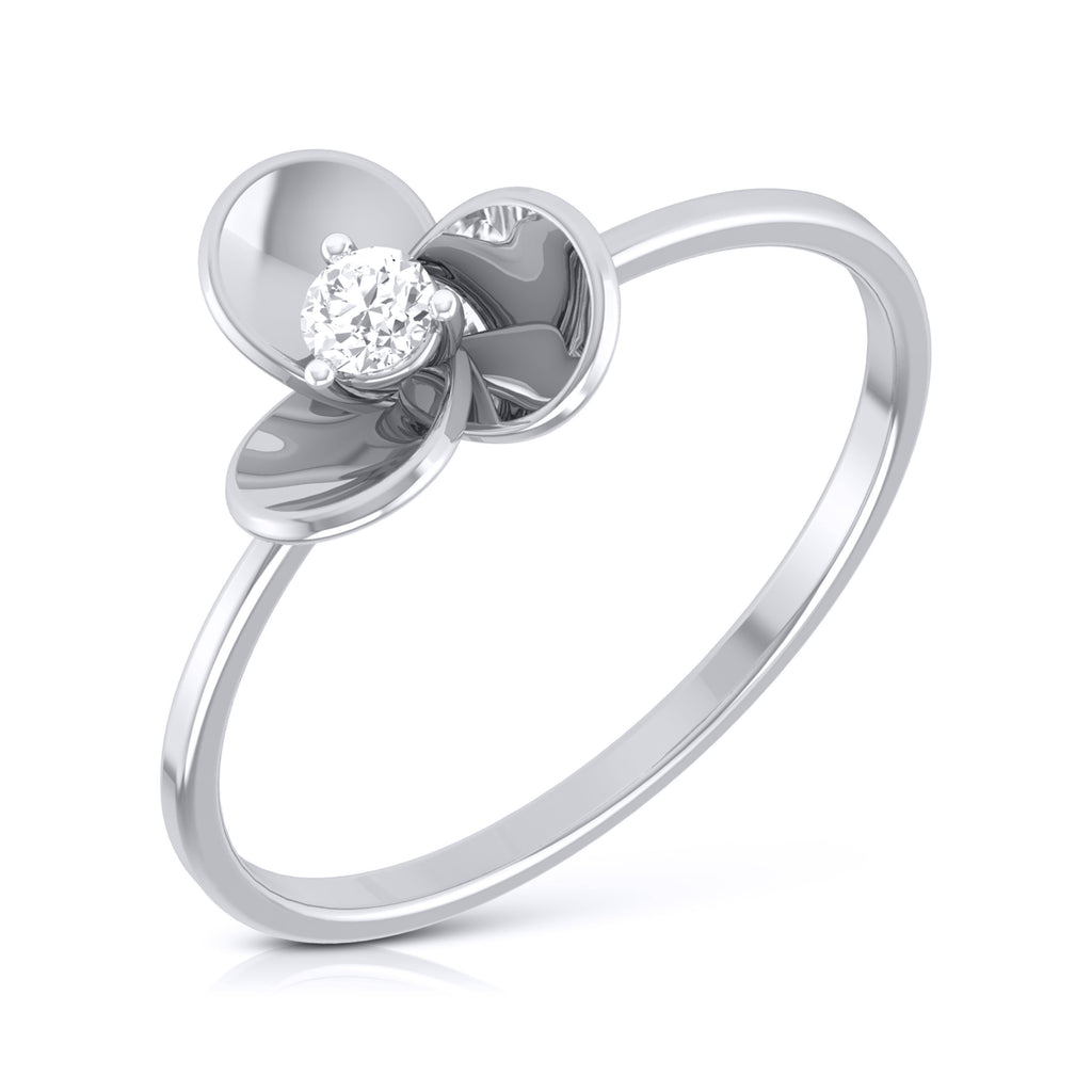 Ready to Ship - Ring Size 7, Platinum Ring for Women with Single Diamond JL PT LR 84