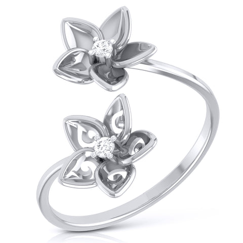 Romantic Flowery Platinum Ring for Women with 2 Diamonds JL PT LR 90