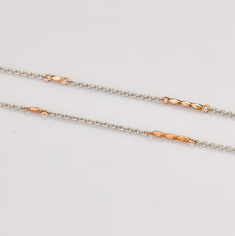 Lightweight Platinum and Rose Gold Chain for Women JL PT 790