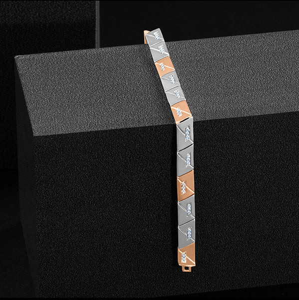 Men of Platinum | Diamond Rose Gold Fusion Geometrical Bracelet for Men JL PTB 734