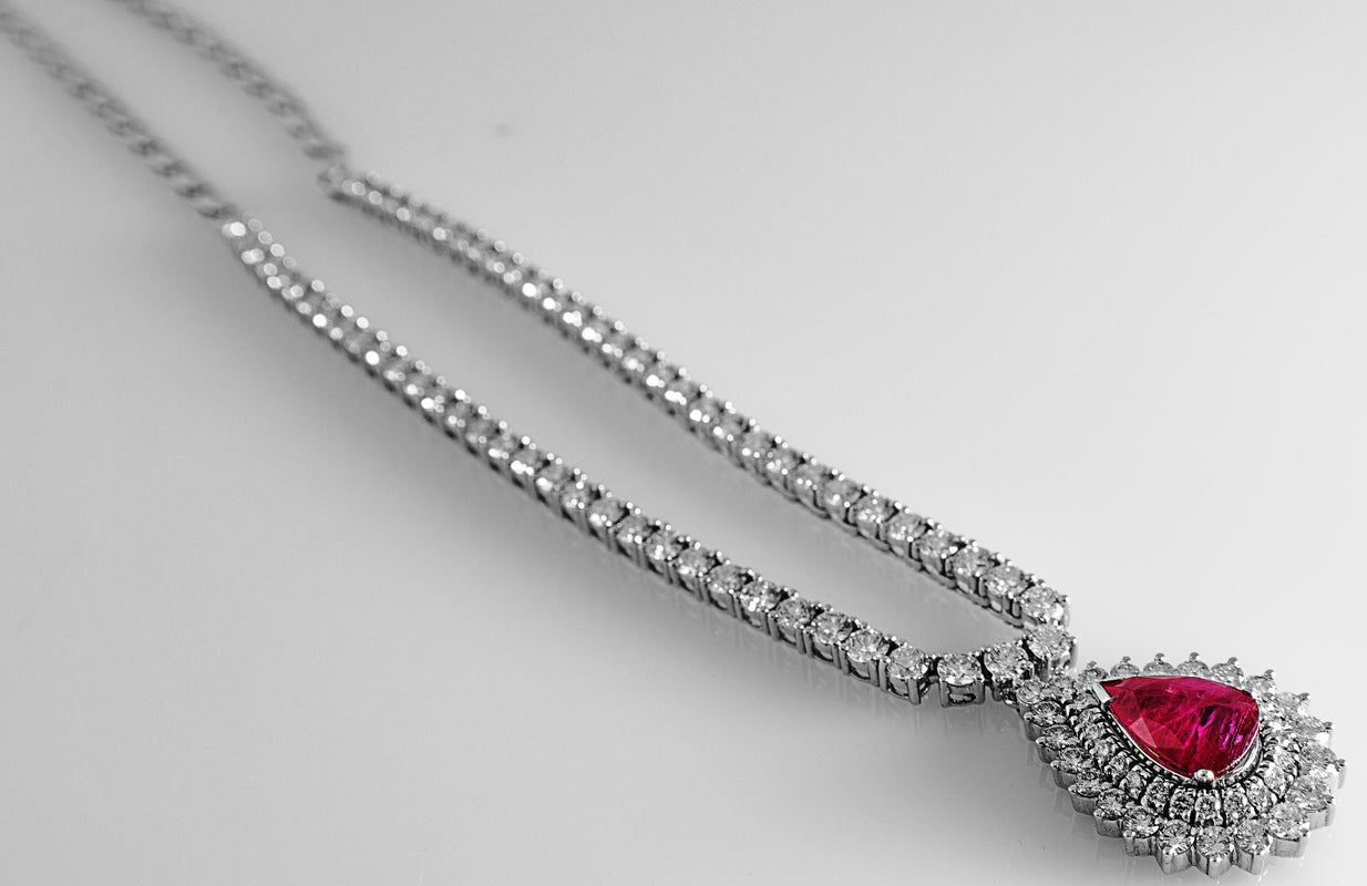 Classic Ruby Necklace with Diamond Pointer Neckline SKU 15
