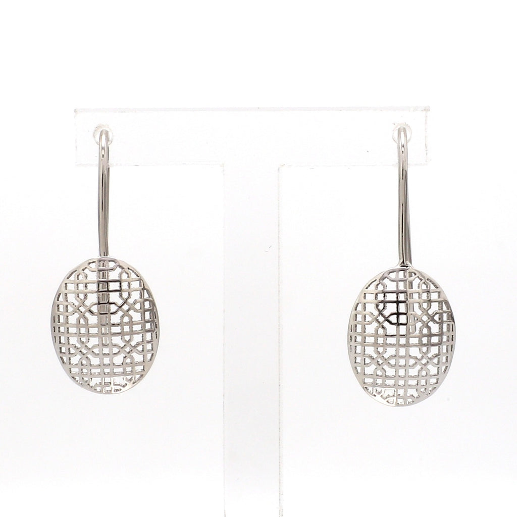 Designer Lightweight Filigree Platinum Earrings for Women JL PT E 207