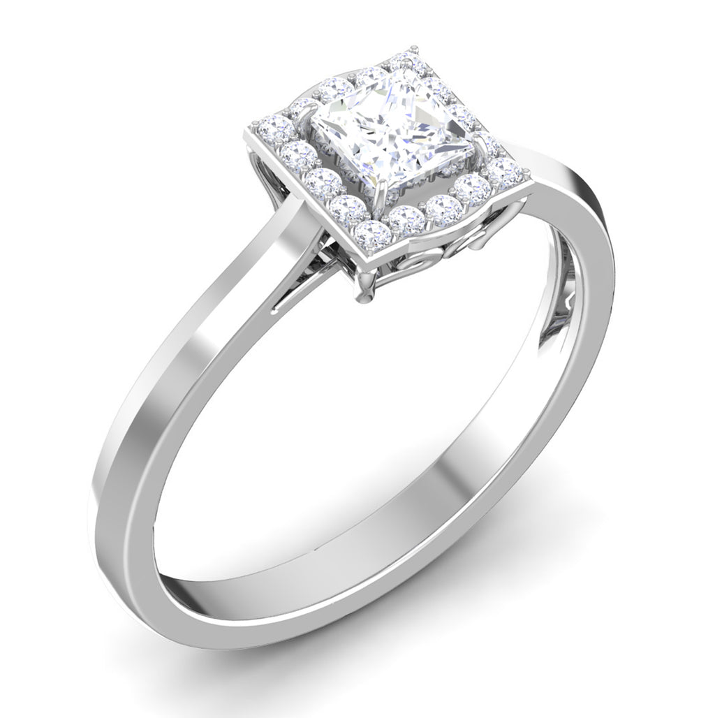 Perspective 30 Pointer Platinum Halo Princes Cut Diamond Solitaire Engagement Ring JL PT 6997