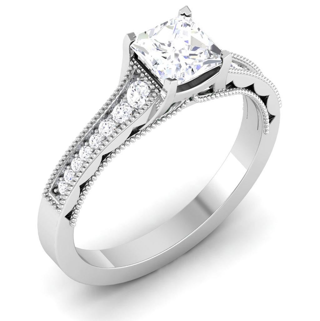 Perspective 30 Pointer Platinum Shank Princes Cut Diamond Solitaire Engagement Ring JL PT 6594