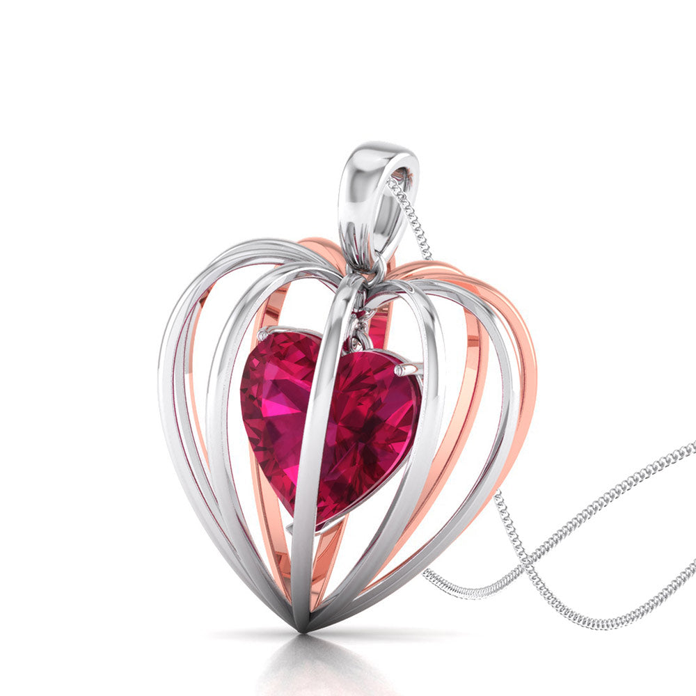 Perspective Veiw of Platinum of Rose Heart Pendant Earring with Diamonds JL PT P 8072