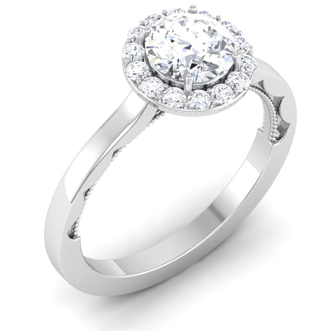 Perspective View of 30 Pointer Platinum Diamond Halo Solitaire Engagement Ring JL PT 6590