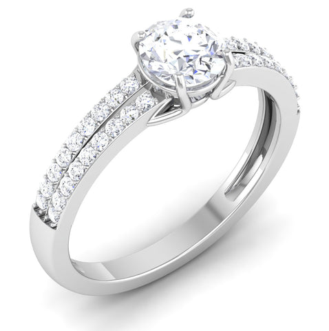 Perspective View of 30 Pointer Platinum Double Shank Diamond Solitaire Engagement Ring JL PT 7002