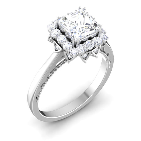 Perspective View of 30 Pointer Platinum Halo Princes Cut Diamond Solitaire Engagement Ring JL PT 6604