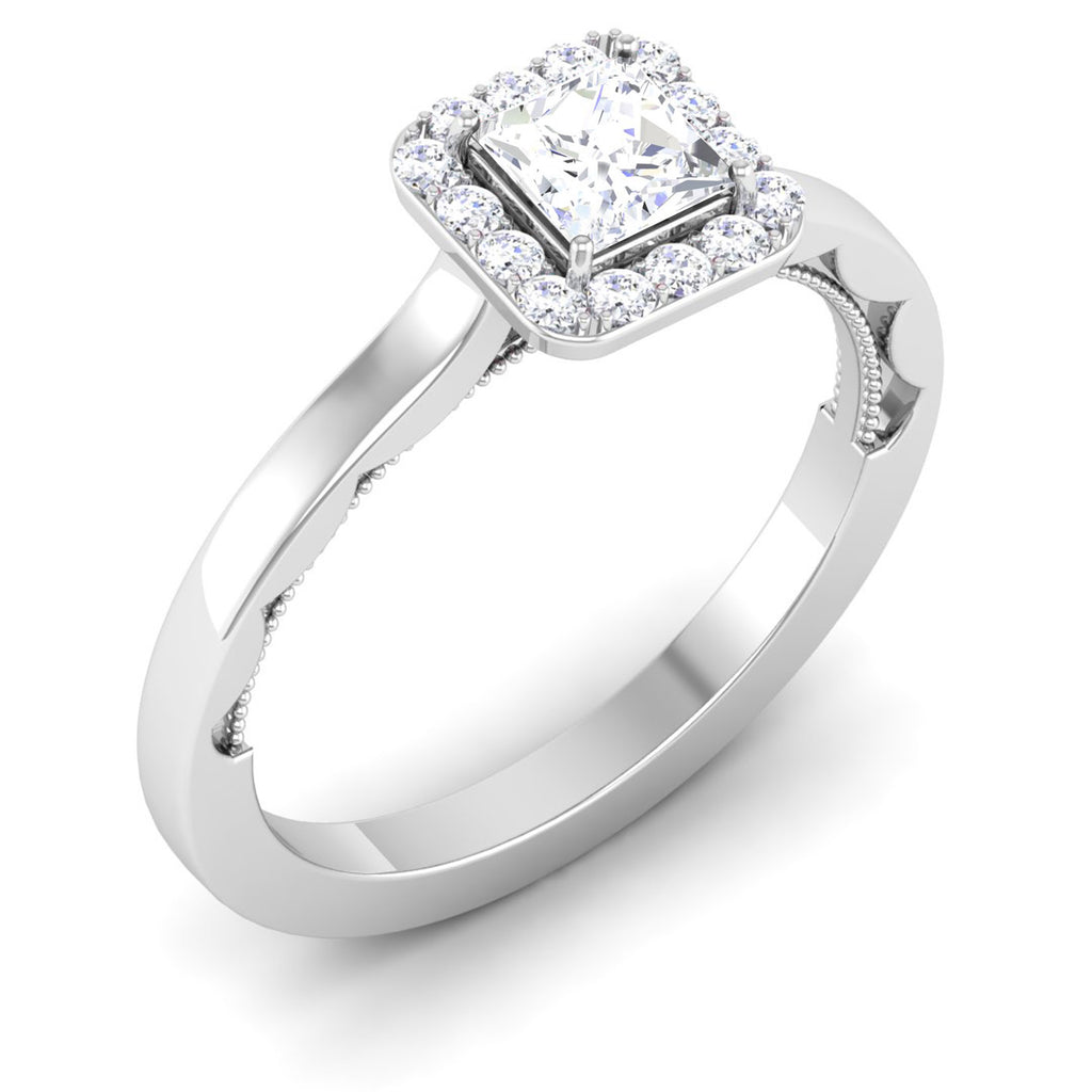 Perspective View of 50 Pointer Platinum Princes Cut Diamond Solitaire Engagement Ring JL PT 6592