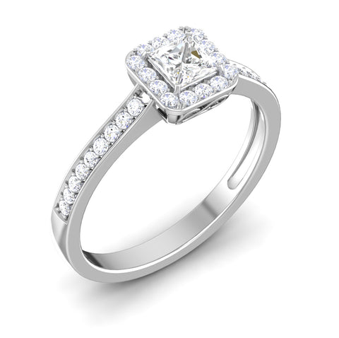 Perspective View of 30 Pointer Platinum Shank Halo Princes Cut Diamond Solitaire Engagement Ring JL PT 7013